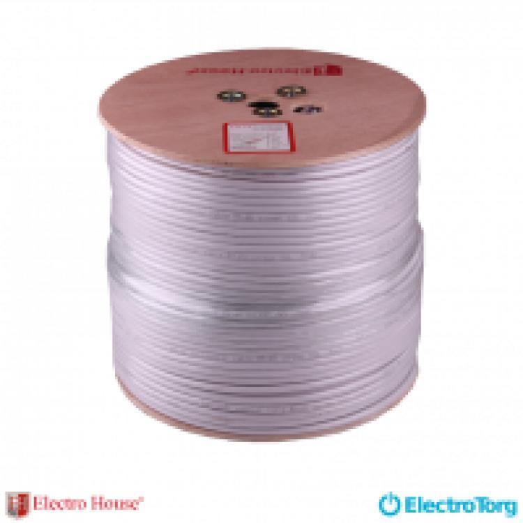 EH-11 Телевизионный кабель RG-6U (РК-75) ПВХ белый CCS 1.02 экран 32%  ElectroHouse