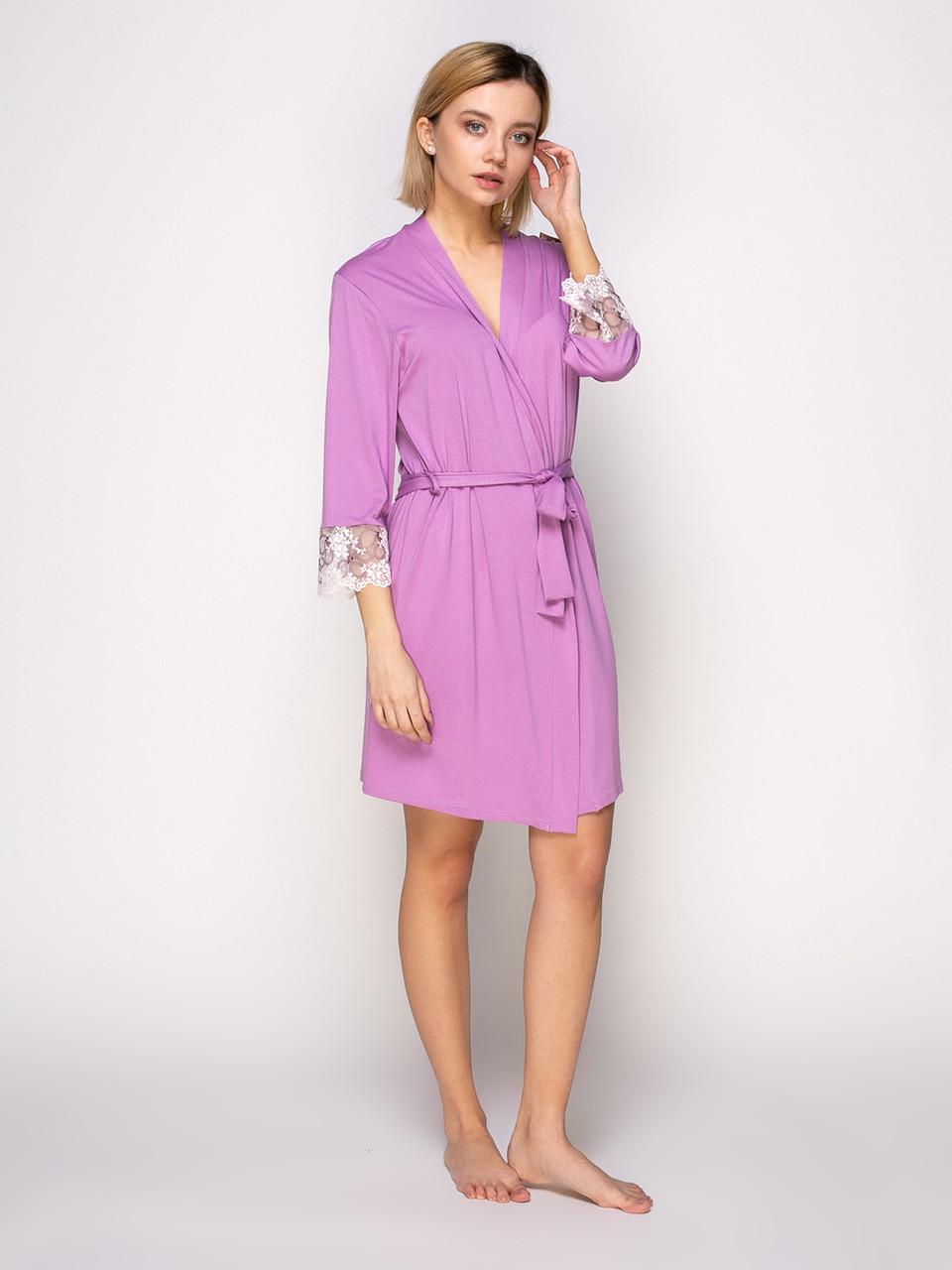 Комплект сорочка и халат, вискоза с кружевом Serenade розовый
