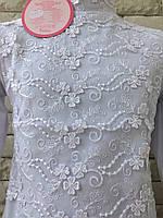 Блузка на девочку с длинным рукавом 6 лет белый, фото 1