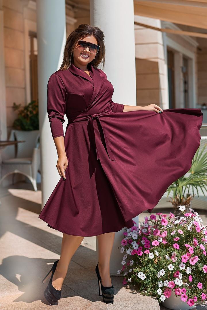 Женское платье на запах цвета марсала, 50-56