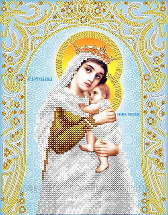 """Схема для вышивки бисером на атласе икона """"Богородица Отчаянных Единая Надежда"""" (серебро), фото 2"""