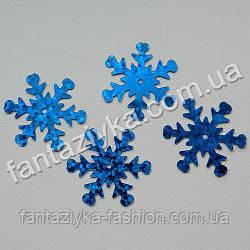 Пайетка Снежинка средняя 25мм, синяя с голограммой