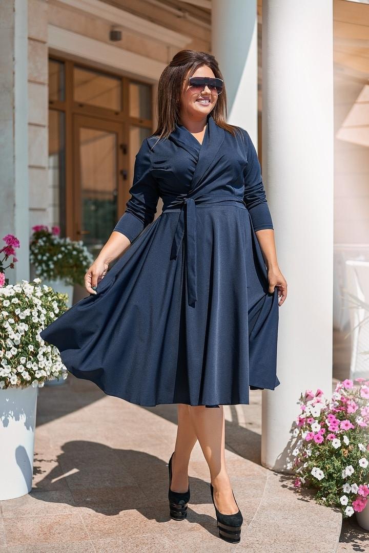 Женское платье на запах синего цвета, 50-56