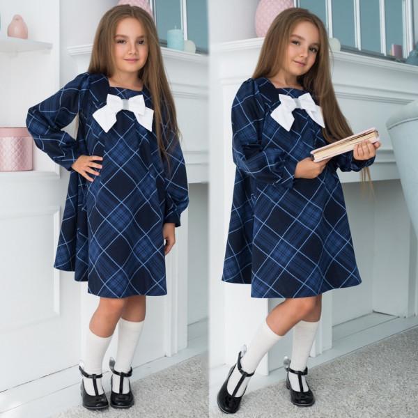 Модное, стильное платье для девочки в клетку Бантик с длинным рукавом