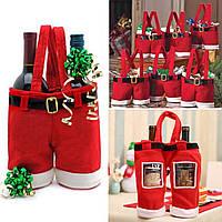 Новогодняя чехол на бутылку Сервировка новогоднего стола Новогодняя упаковка для конфет или игрушек