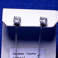 Серебряные серьги Ниточки с фианитом 5354/1-р