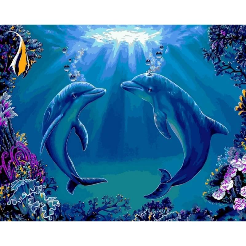 Картина по номерам Дельфины, 40x50 см., Babylon