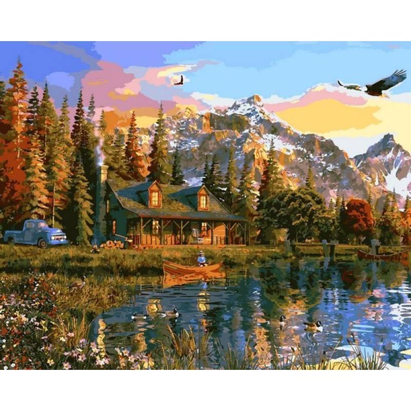 Картина по номерам Старая бревенчатая хижина в горах, 40x50 см., Babylon
