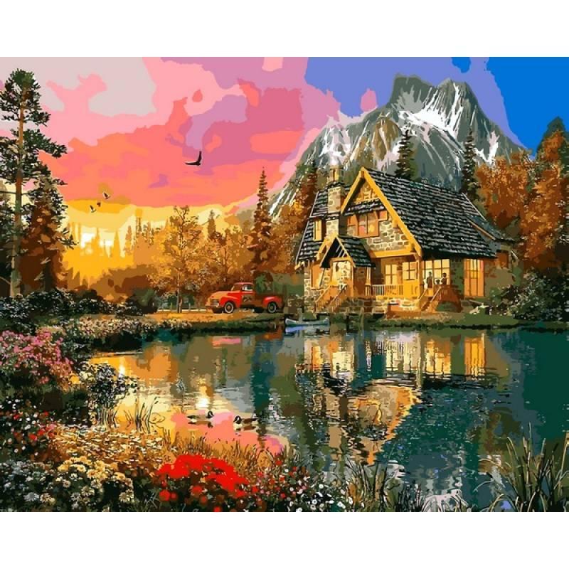 Картина по номерам Горная хижина, 40x50 см., Mariposa