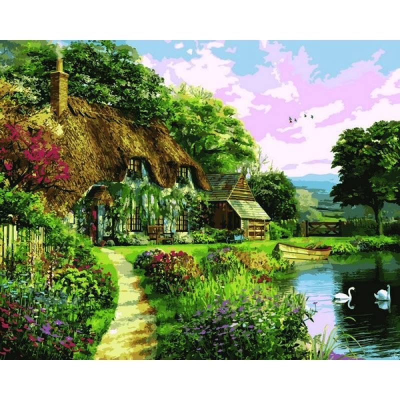 Картина по номерам Домик на закате, 40x50 см., Mariposa
