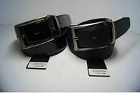 Ремень мужской кожаный двухсторонний (черно-лаковый) ALON