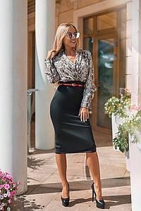 """Облегающее комбинированное миди-платье """"Karen"""" с поясом и длинным рукавом (3 цвета)"""
