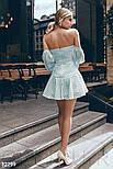 Воздушное платье мини с открытыми плечами голубое, фото 3