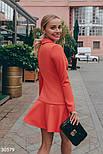 Короткое платье в деловом стиле коралловое, фото 2