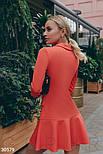 Короткое платье в деловом стиле коралловое, фото 3