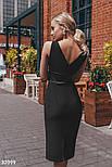 Деловое приталенное платье миди черное, фото 3