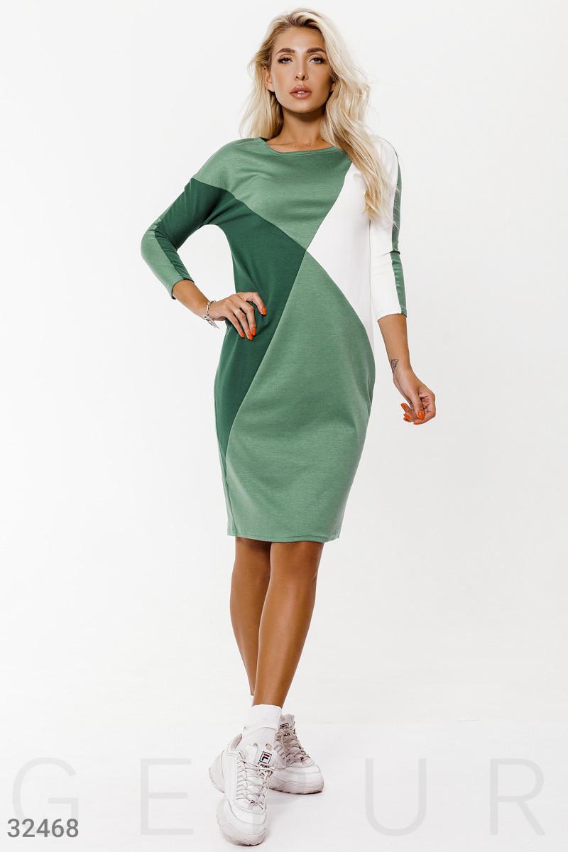 Спортивное платье с рукавом 3/4 бело-зеленое