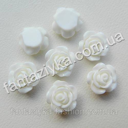 Серединка акриловая, Розочка маленькая белая 10мм