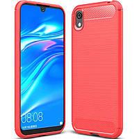 Чехол Carbon для Huawei Y5 2019 противоударный бампер красный