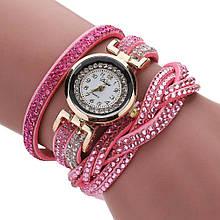 Наручные часы  Duoya плетеным браслетом  в стразах браслет розовый