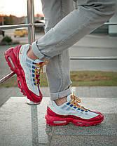 Кроссовки Nike Air Max 95 , Мужские,Белые, Красные,Кожа/Текстиль. Кросівки Чоловічі, Білі, Шкіра, 42-45, фото 3
