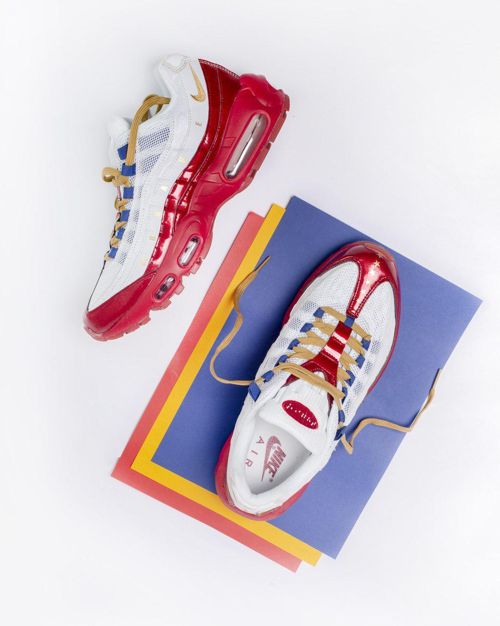 Кроссовки Nike Air Max 95 , Мужские,Белые, Красные,Кожа/Текстиль. Кросівки Чоловічі, Білі, Шкіра, 42-45