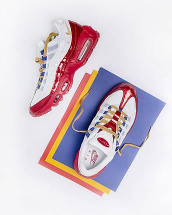 Кроссовки Nike Air Max 95 , Мужские,Белые, Красные,Кожа/Текстиль. Кросівки Чоловічі, Білі, Шкіра, 42-45, фото 2