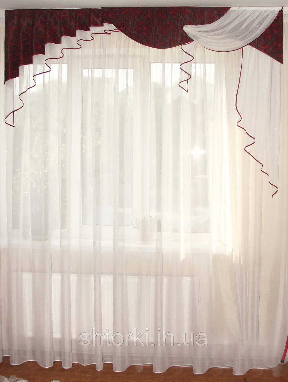 Жесткий ламбрекен  2м Люкс бордо с черным