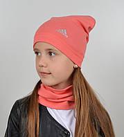 Дитячий трикотажний комплект оптом (шапка+хомут), фото 1