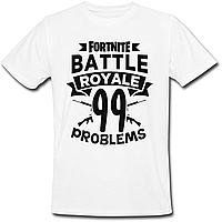 """Футболка Fortnite Battle Royale """"99 Problems"""" (белая)"""