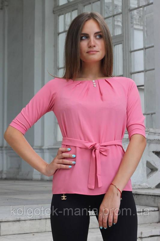 """Блузка женская с поясом однотонная розовая """"Ирма"""""""