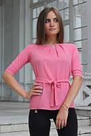 """Блузка женская с поясом однотонная розовая """"Ирма"""" , фото 1"""