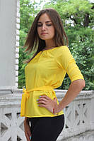 """Блузка женская с поясом однотонная жёлтая """"Ирма"""" , фото 1"""