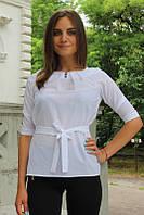 """Блузка женская с поясом однотонная белая """"Ирма"""", фото 1"""