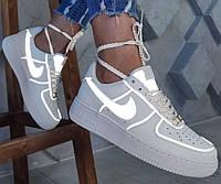Женские кожаные кроссовки Nike Air Force 1 Low Reflective White (найк аир форс 1 низкие, рефлективные. белые)
