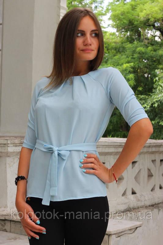 """Блузка женская с поясом однотонная светло-голубая """"Ирма"""""""