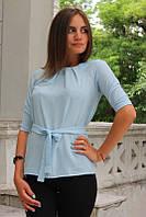 """Блузка женская с поясом однотонная светло-голубая """"Ирма"""" , фото 1"""