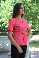 """Блузка женская с поясом однотонная коралловая """"Лейла"""" , фото 1"""