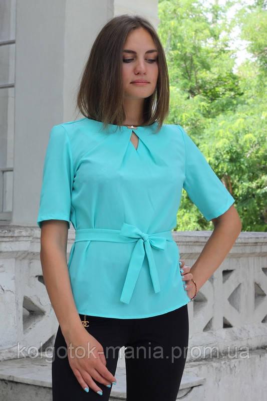 """Блузка женская с поясом однотонная бирюзовая """"Камила"""""""