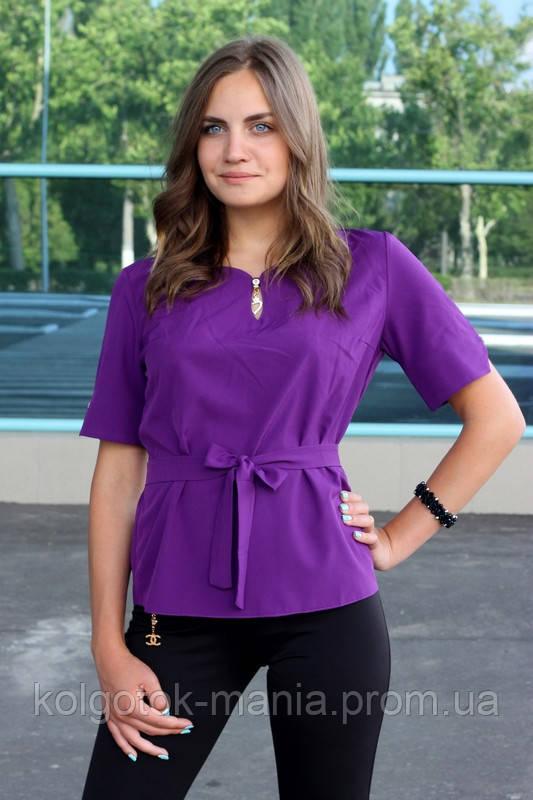 """Блузка женская с поясом однотонная фиолетовая """"Дори"""""""