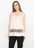 Лёгкая женская блузка со вставками из евросетки (светло-бежевый), фото 1