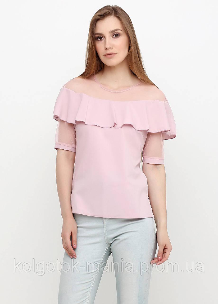 Лёгкая блузка со вставками из евросетки (светло-розовый, пудра)