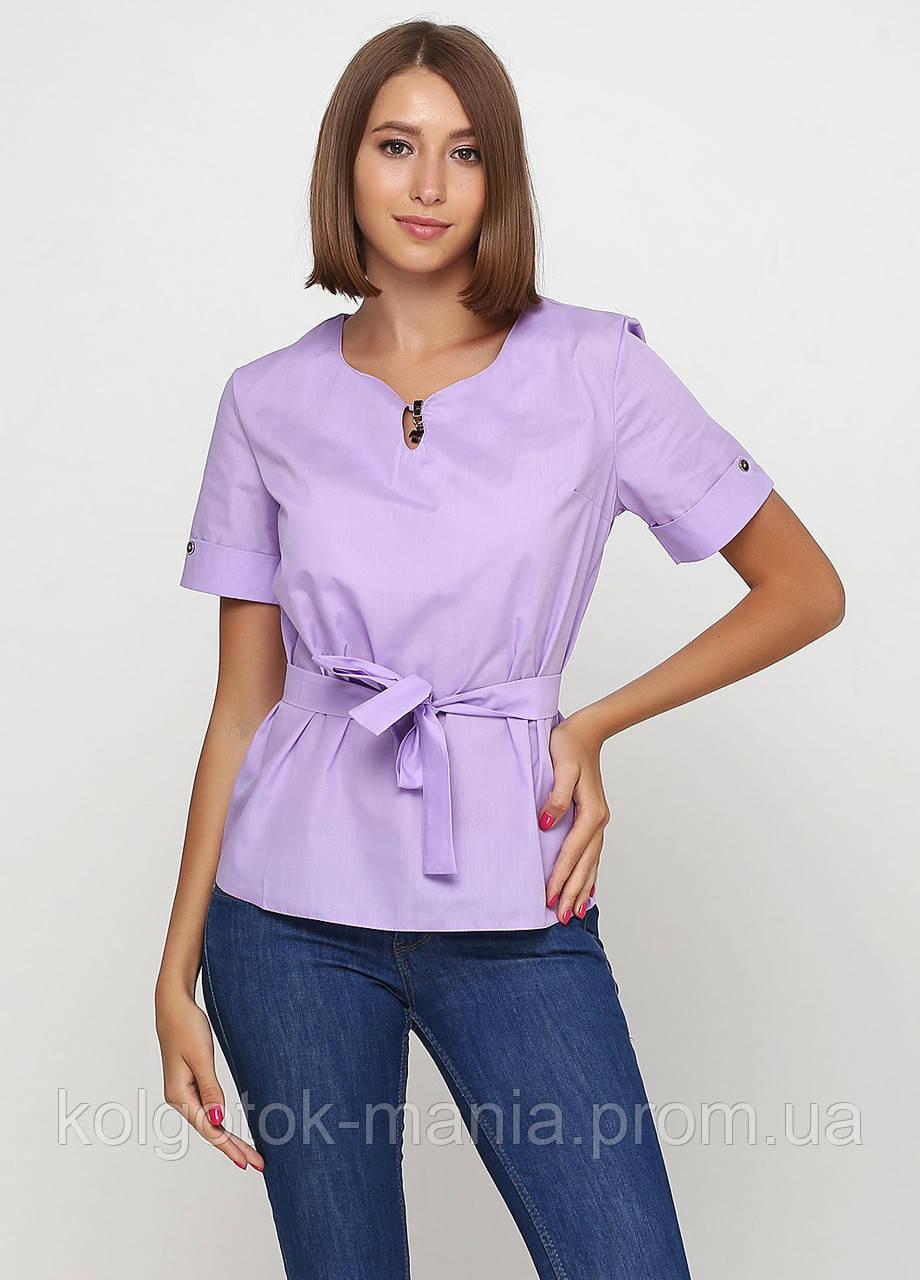 Блуза женская с поясом однотонная (сиреневый, сирень)