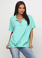 Блузка женская свободного покроя с коротким рукавом (мятный, мята), фото 1