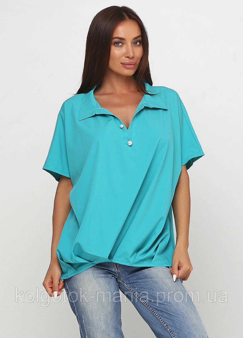 Блузка женская свободного покроя с коротким рукавом (бирюзовый, морской волны)