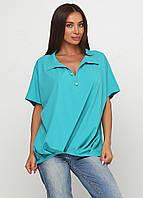 Блузка женская свободного покроя с коротким рукавом (бирюзовый, морской волны), фото 1