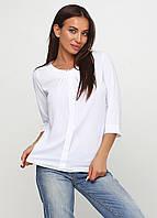Блузка женская однотонная белая с планкой и брошью, фото 1