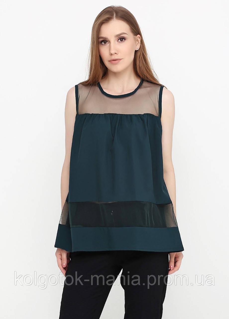 Лёгкая женская блузка со вставками из евросетки (тёмно-зелёный, бутылочный)