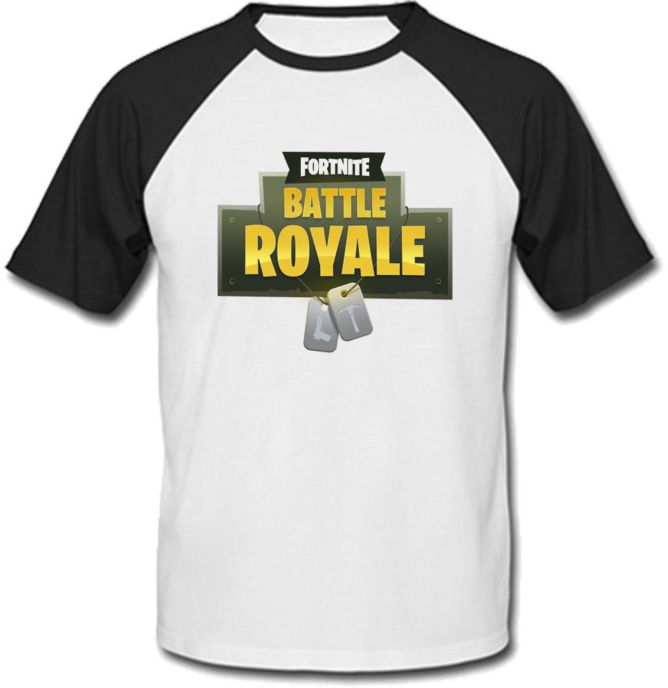 Футболка Fortnite Battle Royale Logo (біла з чорними рукавами)