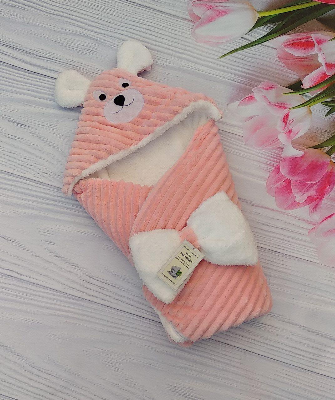 Плюшевый конверт-одеяло на махре с капюшоном